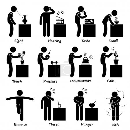Human Senses Stick Figure Pictogram Icons