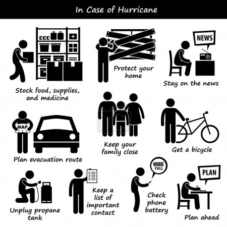 In Case of Hurricane Typhoon Cyclone Emergency Plan Stick Figure Pictogram Icons