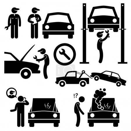 Car Repair Services Workshop Mechanic Stick Figure Pictogram Icons