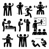 A set of human pictogram representing exercising and workout with a personal coach trainer instructor