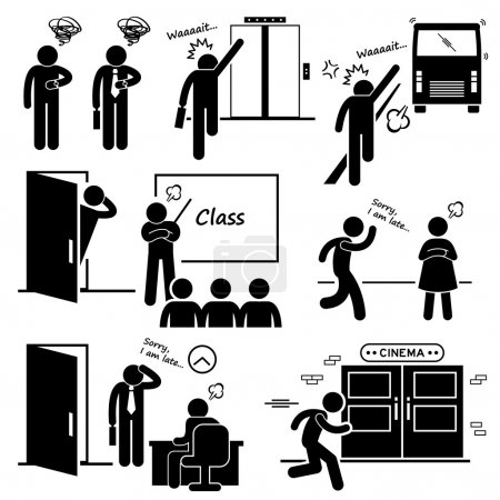 Late and Rushing for Elevator, Bus, Class, Date, Job Interview, and Movie Cinema Stick Figure Pictogram Icons