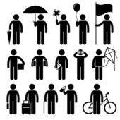 Man with Random Objects Stick Figure Pictogram Icons