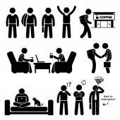 Freier Mitarbeiter unabhängiger selbständiger Strichmännchen Piktogramme Symbole
