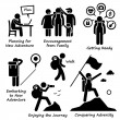 Постер, плакат: New Adventure and Conquering Adversity Stick Figure Pictogram Icons