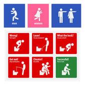 Vicces WC jelek kreatív jelzőtáblákat
