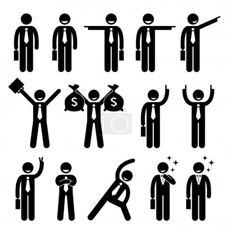 Businessman Business Man Happy Action Poses Stick Figure Pictogram Icon