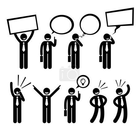 Businessman Business Man Talking Thinking Shouting Holding Placard Stick Figure Pictogram Icon