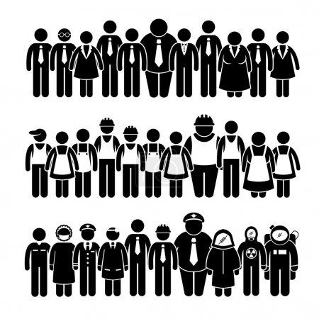 Illustration pour Un ensemble de pictogrammes humains représentant un groupe de travailleurs et de professionnels de divers secteurs et œuvrant en faveur d'une entreprise et d'un syndicat forts . - image libre de droit