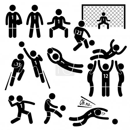 Illustration for A set of stickman pictogram representing the actions, skills, and postures of a soccer football goalkeeper in the field. - Royalty Free Image