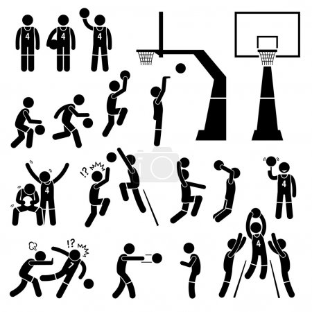 Illustration for A set of stickman pictogram representing a basketball players skills, actions, and postures. This include layup, slam dunk, rebound, blocking, shooting, passing, and intentionally pushing other player. - Royalty Free Image