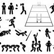 A set of human pictogram representing the sport of...