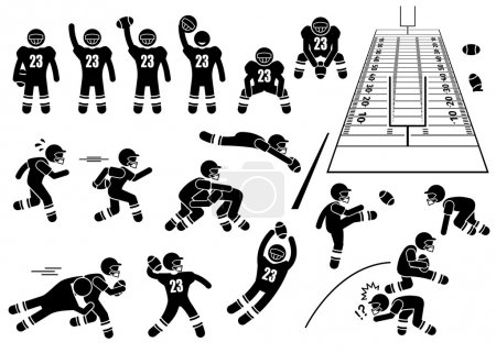 Illustration for A set of human pictogram representing the sport of American Football player actions and poses. This also include the 3D perspective of the field. - Royalty Free Image