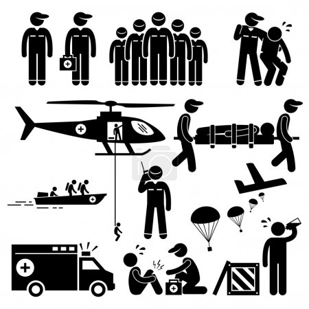 Illustration for A set of human pictogram representing emergency rescue team and paramedic saving life of injured victims with helicopter, boat, and ambulance. They are also dropping food supply from air with aeroplane. They provide medical attention as well. - Royalty Free Image