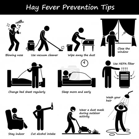 Hay Fever Prevention Allergy Tips Stick Figure Pictogram Icons