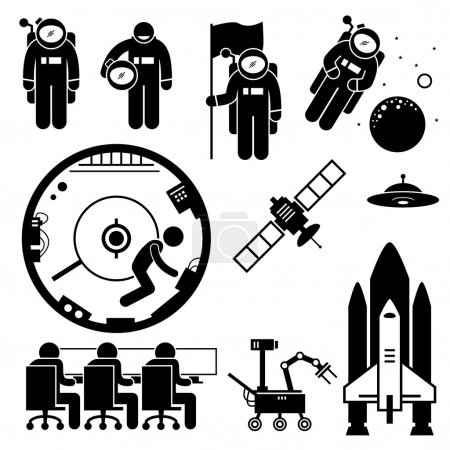 Illustration for The work of an astronaut at outer space. This include floating at the space, putting on a flag, taking off helmet, working inside space station, using drone from a command center. Objects such as satellite, UFO and rocket are there too. - Royalty Free Image