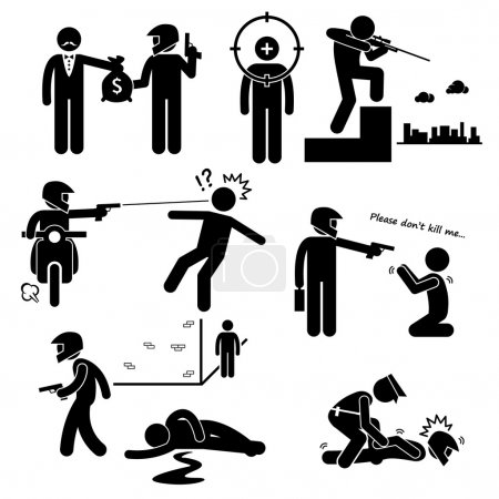Assassination Hitman Killer Murder Gunman Stick Figure Pictogram Icons