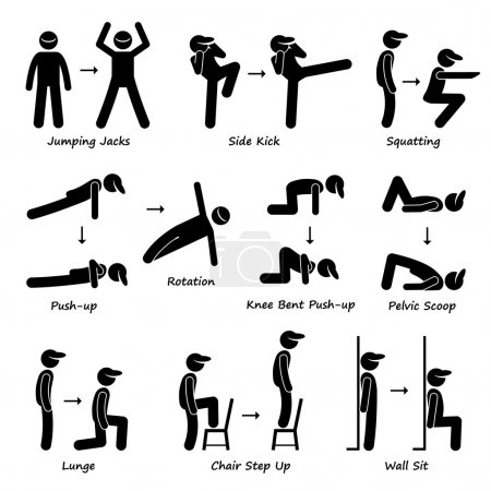 Body Workout Exercise Fitness Training (Set 1) Stick Figure Pictogram Icons