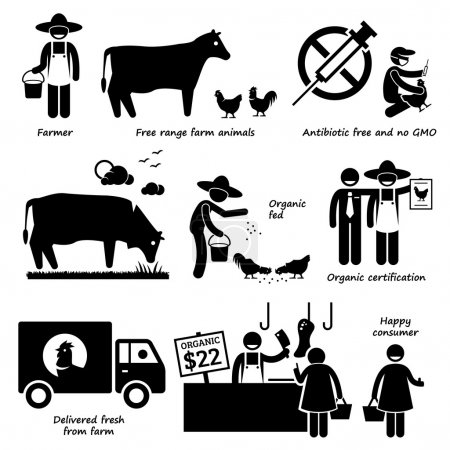 Natural Organic Food Meat Beef Chicken Poultry Stick Figure Pictogram Icons