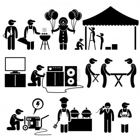 Illustration for Human pictogram representing event setup services business. They are the manager, bbq, clown with balloons, setting up tent, audio and visual system, table and chairs, power generator, chef, buffet, emcee, and waiter. - Royalty Free Image