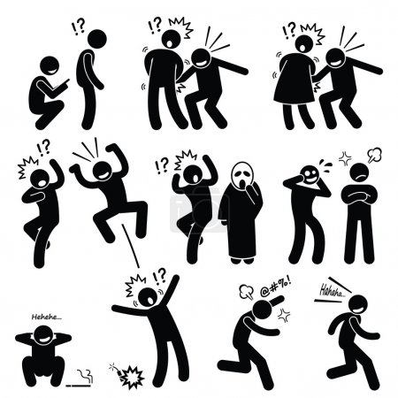 Illustration for Human pictogram representing funny but annoying people actions on other people. He is playful, irritating, rascal, and very naughty. - Royalty Free Image