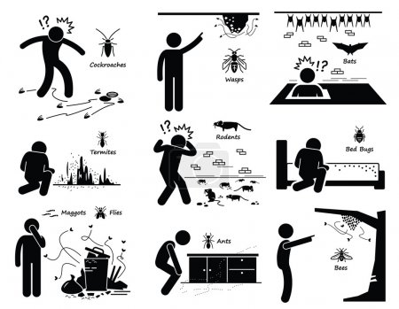 Illustration for A set of pictograms representing man or human facing pest problem and infestation such as cockroaches, wasp, bats, termites, rats, bed bug, maggots, flies, ants, and bees. - Royalty Free Image