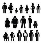 Lidé charakter muže žena děti věku velikost panáček piktogram ikony