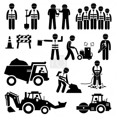 Illustration for A set of pictogram representing road construction with workers and engineers working as a team. This sets include cone, barriers, truck, bulldozer, road roller, jackhammer, and other road construction equipments. - Royalty Free Image