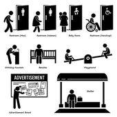 Veřejná zařízení a vybavení WC, pítko, lavičky, dětské hřiště, Rady pro reklamu a přístřeší