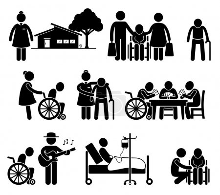 Pictogram of old folk home and retirement center. ...
