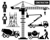 Construction Scaffolding Tower Crane Mixer Truck Sky Lift Heavy Industry Pictogram