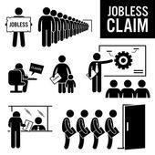 Nezaměstnaných tvrzení nezaměstnanosti dávky panáček piktogram ikony