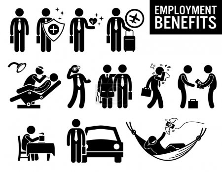 Illustration pour Illustrations montrant les prestations d'emploi d'un travailleur. Il s'agit de la protection d'assurance, des soins médicaux, des voyages, du dentiste, des soins oculaires ou de la vue, du médecin, des congés de maladie, de l'indemnité, du rafraîchissement, du véhicule à emporter et de la pension. . - image libre de droit