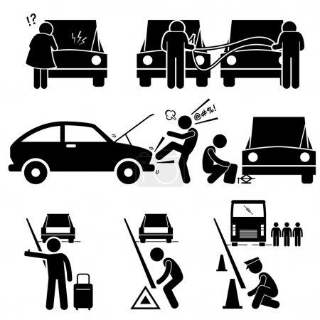 Fixing a Car Breakdown Broke Down Repair at Roadside Stick Figure Pictogram Icons