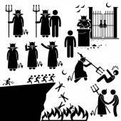 Devil Demon Satan Hell Underworld Stick Figure Pictogram Icons