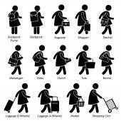 Typ žena ženské tašky kabelky peněženky a zavazadla panáček piktogram ikon