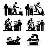 Stress-Test-Übung für Herzerkrankungen Strichmännchen Piktogramme Symbole