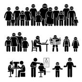 People Children Family Wearing Glasses Stick Figure Pictogram Icons