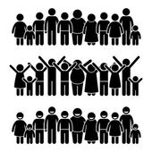 A group of happy young children and kids standing in straight line This pictogram represent friendship and youthfulness They are having a happy childhood and enjoying each other companion