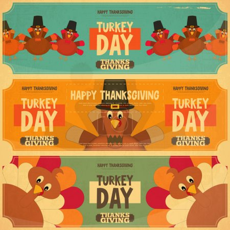 Illustration for Thanksgiving Day Card. Retro Posters Set with Cartoon Turkey. Vector Illustration. - Royalty Free Image