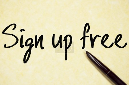 Sign up free text write on paper