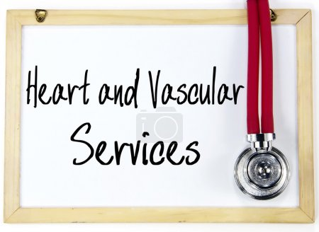 heart and vascular services text write on blackboard