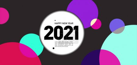 Illustration for Happy New Year 2021 card, bright vector illustration brochure with color circles - Royalty Free Image