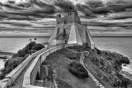 Sperlonga italian fishing village  Truglia Tower BW
