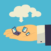 Cloud storage over human hand with tablet laptop and smartphone