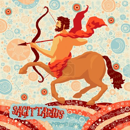 Illustration for Astrological zodiac sign Sagittarius. Part of a set of horoscope signs. Vector illustration. - Royalty Free Image
