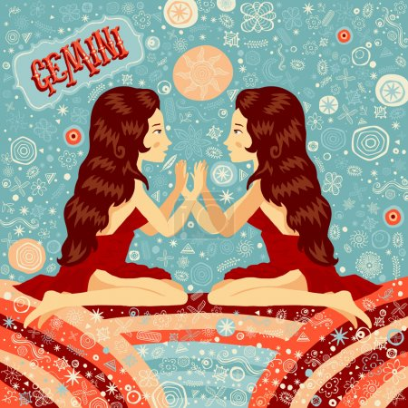 Illustration for Astrological zodiac sign Gemini. Part of a set of horoscope signs. Vector illustration. - Royalty Free Image