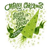 Veselé Vánoce a šťastný nový rok 2016 pozdrav card, izolované vektorové ilustrace, plakát, pohlednice nebo pozadí