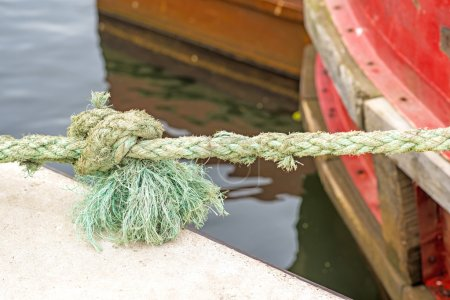 mooring line of a trawler with knot