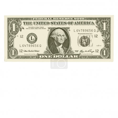 Vector - One dollar bills, isolated on white.