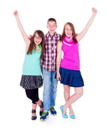 Teen boy with happy girlfriends